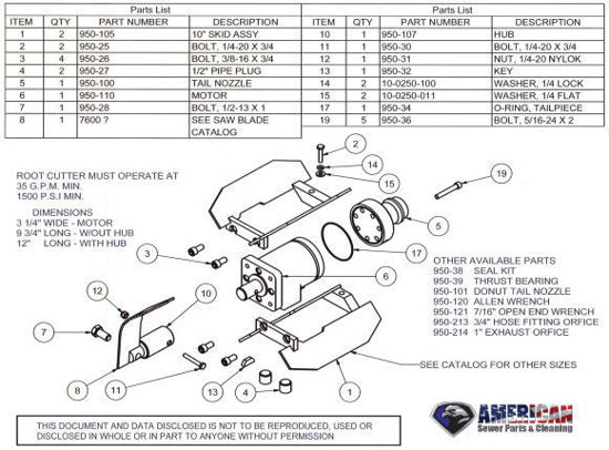 Picture of Mainline Root Cutter Assembly Parts